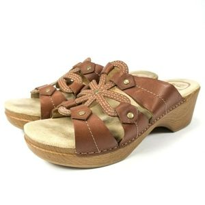 Dansko Serena Brown Slides Sandal Mules Shoes